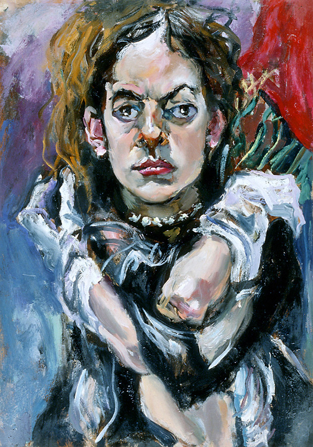 Raoul Middleman painting, Girl with Gloves