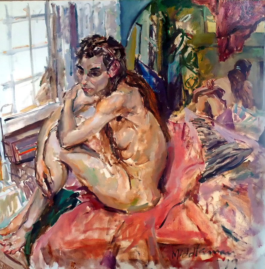 Raoul Middleman painting, Carol by the Window