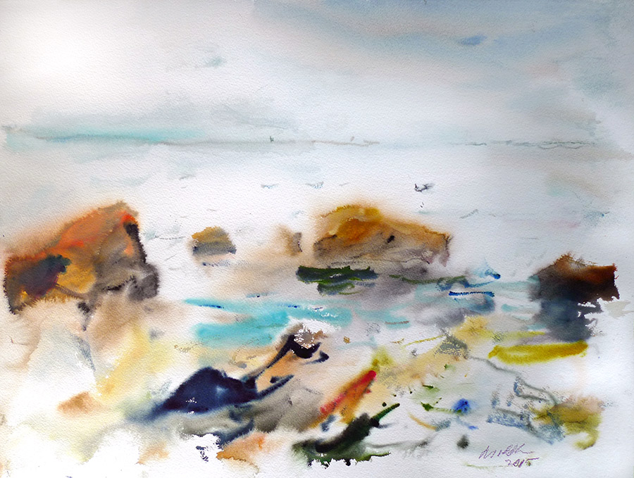 Raoul Middleman watercolor, Still Sea